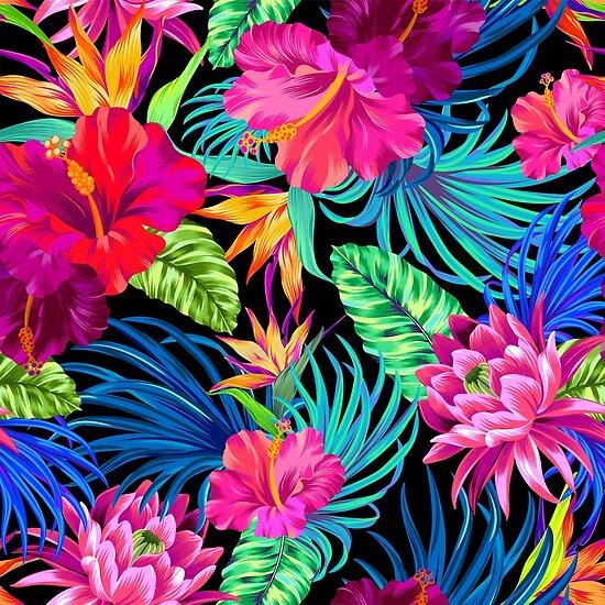 Fahren Sie Mad Hibiscus Pattern von Elena Belokrinitski