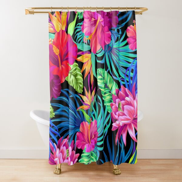 Drive You Mad Hibiscus Pattern Shower Curtain