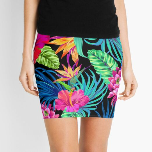 Drive You Mad Hibiscus Pattern Mini Skirt