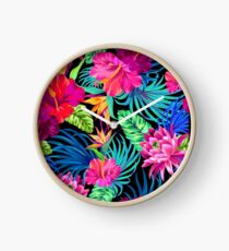 Drive You Mad Hibiscus Pattern Clock