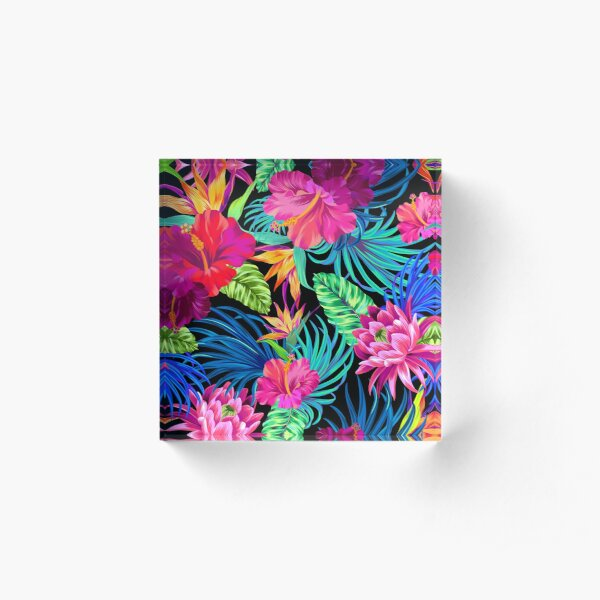 Drive You Mad Hibiscus Pattern Acrylic Block