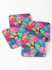 Drive You Mad Hibiscus Pattern Coasters