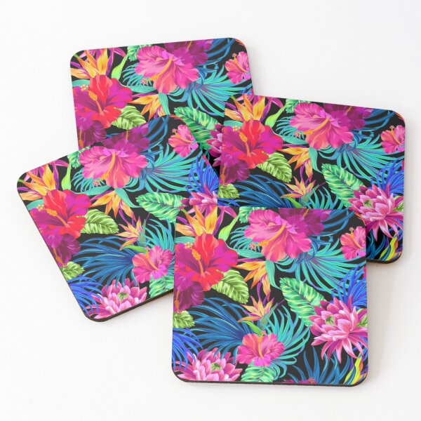 Drive You Mad Hibiscus Pattern Coasters (Set of 4)