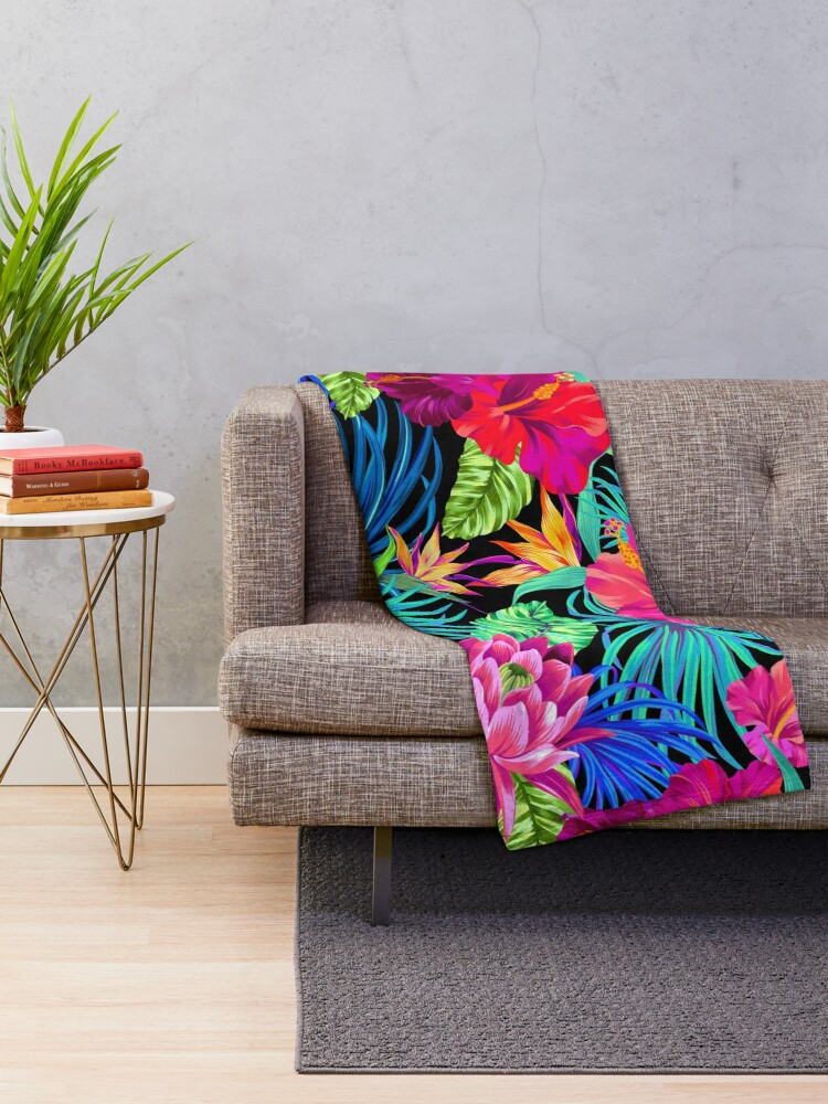 Alternate view of Drive You Mad Hibiscus Pattern Throw Blanket