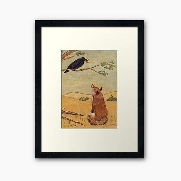 Aesops Fable the Fox and Crow Framed Art Print