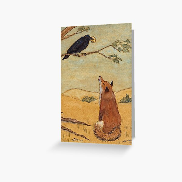 Aesops Fable the Fox and Crow Greeting Card