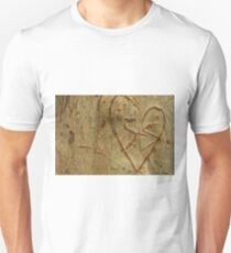 Letters S + S carved in tree trunk T-Shirt