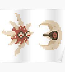 Solrock and Lunatone pixel art Poster