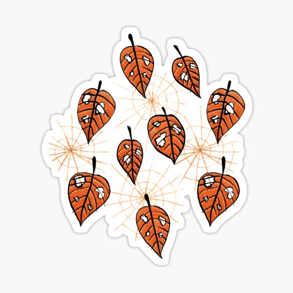 Orange Leaves With Holes And Spiderwebs Sticker