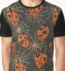 Orange Leaves With Holes And Spiderwebs Graphic T-Shirt