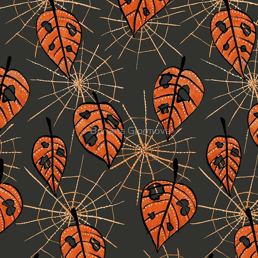 Art prints with my pattern created from my digitally colored ink drawing of orange leaves with holes and spiderwebs which Redbubble featured yesterday