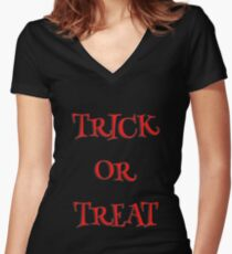 Trick or treat halloween Women's Fitted V-Neck T-Shirt