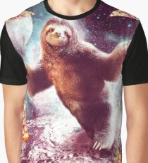 Funny Space Sloth With Pizza  Graphic T-Shirt