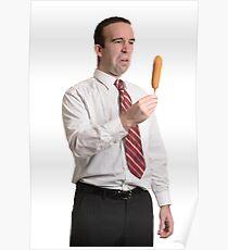 Man Staring at Corn Dog Poster