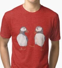 Pssstt... wanna dance? Sweet puffin friends Tri-blend T-Shirt