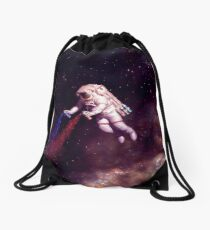 Shooting Stars - the astronaut artist Drawstring Bag