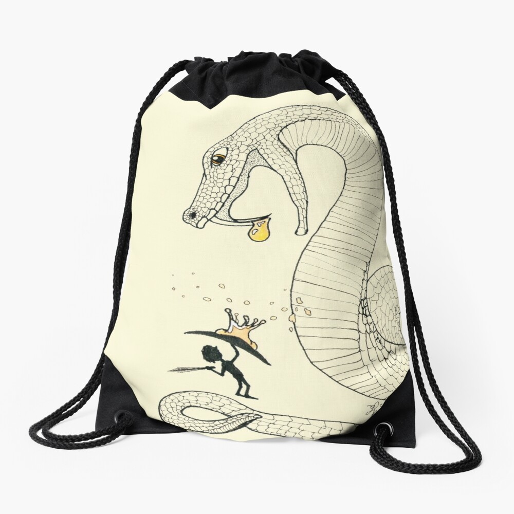Poison - Fighting a venimous giant snake, in ink Drawstring Bag
