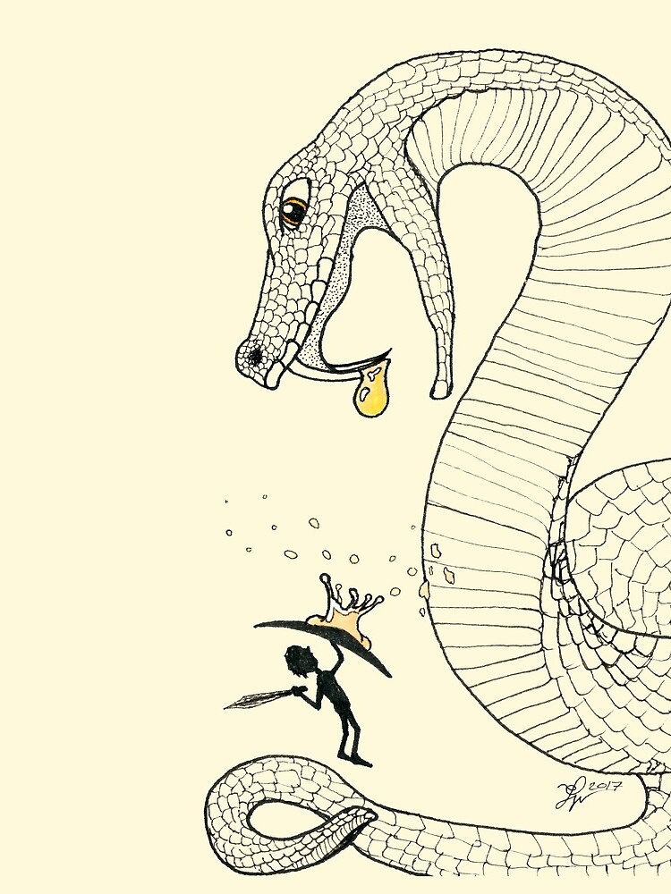 Poison - Fighting a venimous giant snake, in ink by Phenglar