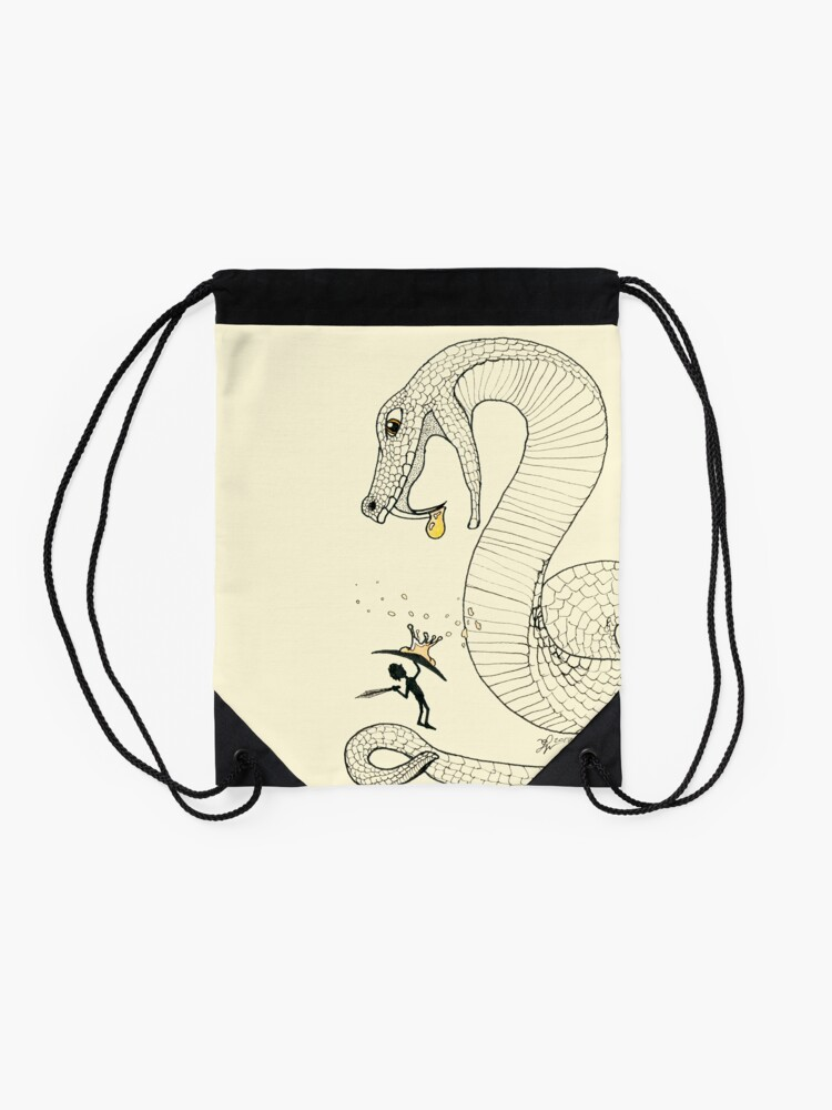 Alternate view of Poison - Fighting a venimous giant snake, in ink Drawstring Bag