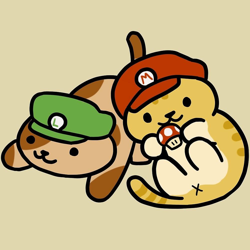 Neko Atsume Mario & Luigi by MarshmalloWhale