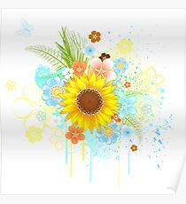 Summer Sunflower on White Background Poster