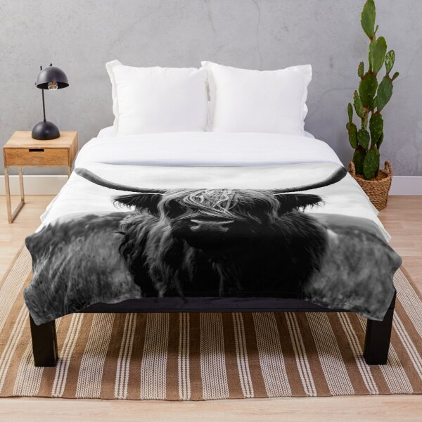 Scottish Highland Cattle - Black and White Animal Photography Throw Blanket