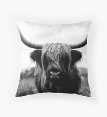 Scottish Highland Cattle - Black and White Animal Photography Floor Pillow