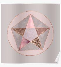 Glamorous Rose Gold Hexagon Symbol Poster