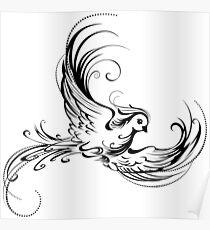 Stylized Bird on White Background Poster