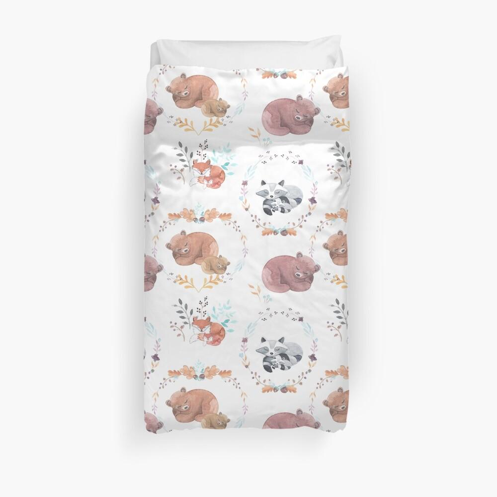 Sleepy Woodland Animals Duvet Cover