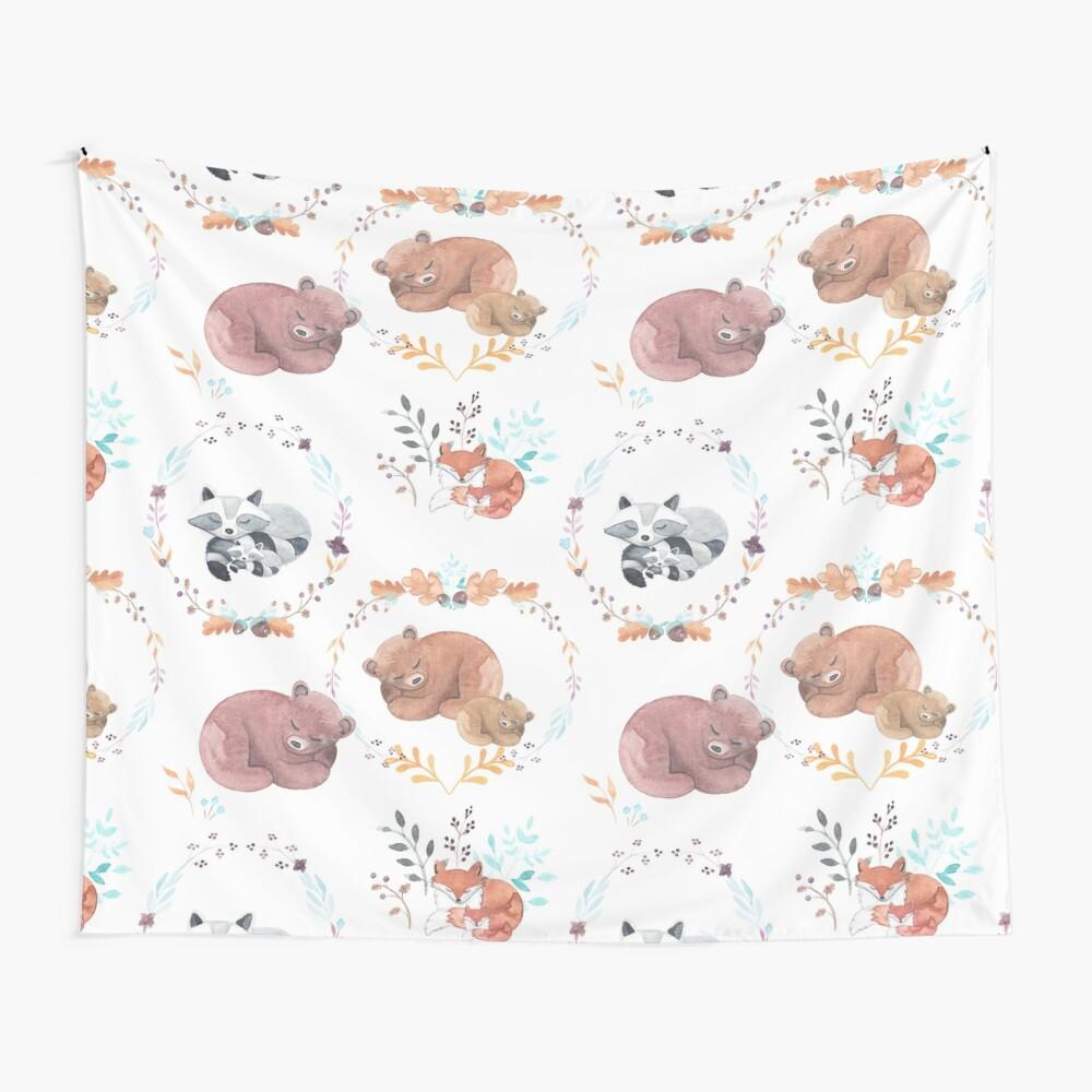 Sleepy Woodland Animals Wall Tapestry