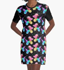Watercolor Balloon Dogs on black Graphic T-Shirt Dress