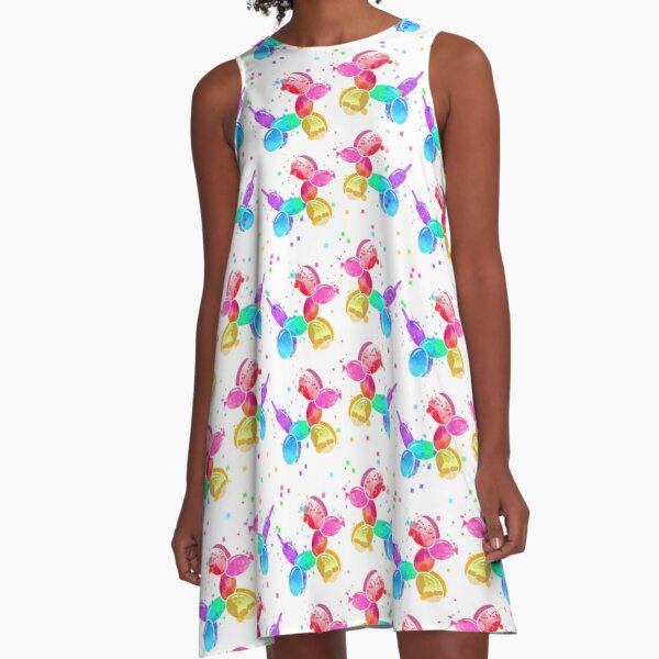 Watercolor Balloon Dogs on white A-Line Dress