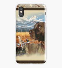 Chocolate Lab A Pheasant Hunt iPhone Case