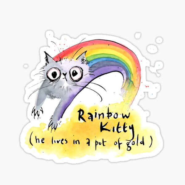 Rainbow Kitty - he lives in a Pot of Gold Sticker