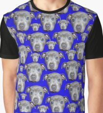 Blue Staffordshire Bull Terrier Puppy Pattern, Graphic T-Shirt