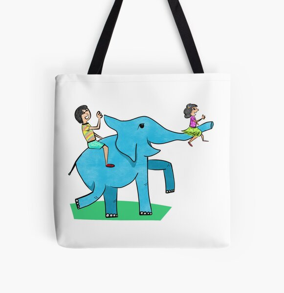 Happy Elephant with kids All Over Print Tote Bag