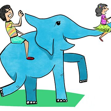 Happy Elephant with kids by tareqnh