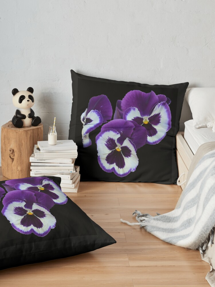 Vista alternativa de Cojines de suelo Pansies Exquisite Purple White Eye Candy,