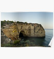 Sea Cave and Agave Bloom Spike - the Magic of Algarve Portugal Poster