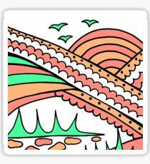 Doodle Art Rainbows Sun Birds - Red Green Sticker