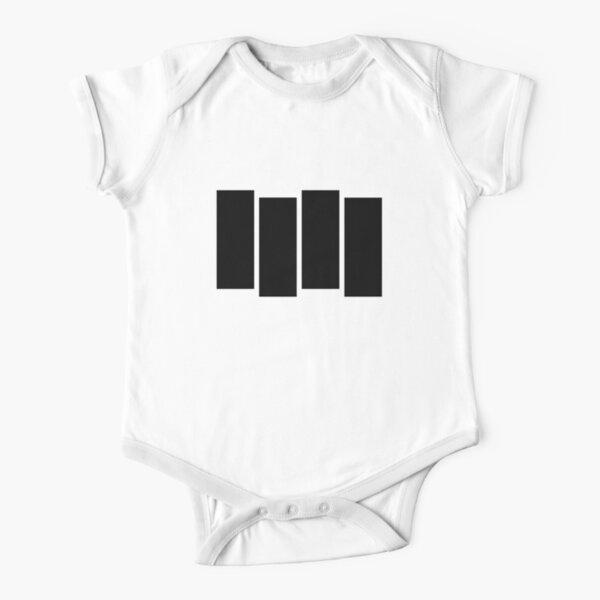 Black F Short Sleeve Baby One-Piece