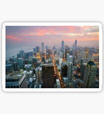 The skies above the City of Chicago at Sunset Sticker