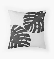 Monster Leaf I Black & White Throw Pillow