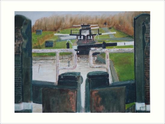 Looking down Hurleston locks from lock No 2 by Peter Lythgoe
