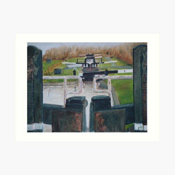 Looking down Hurleston locks from lock No 2 Art Print