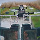 Looking down Hurleston locks from lock No 2 by Peter Lythgoe