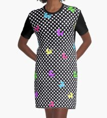 Polka-Dog Balloon Dog in Rainbow Graphic T-Shirt Dress