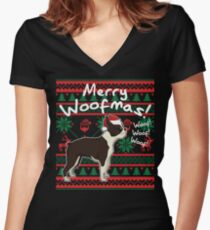 Boston Terrier Merry Woofmas, Ugly Christmas Sweater Women's Fitted V-Neck T-Shirt