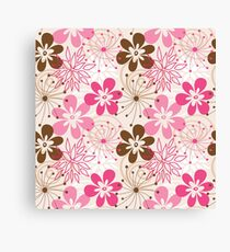 Cute brown and pink abstract spring flowers Canvas Print